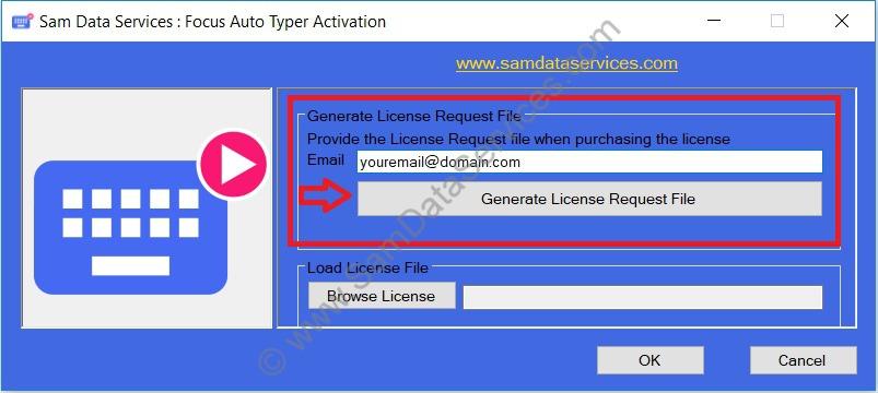 focus auto typer license request